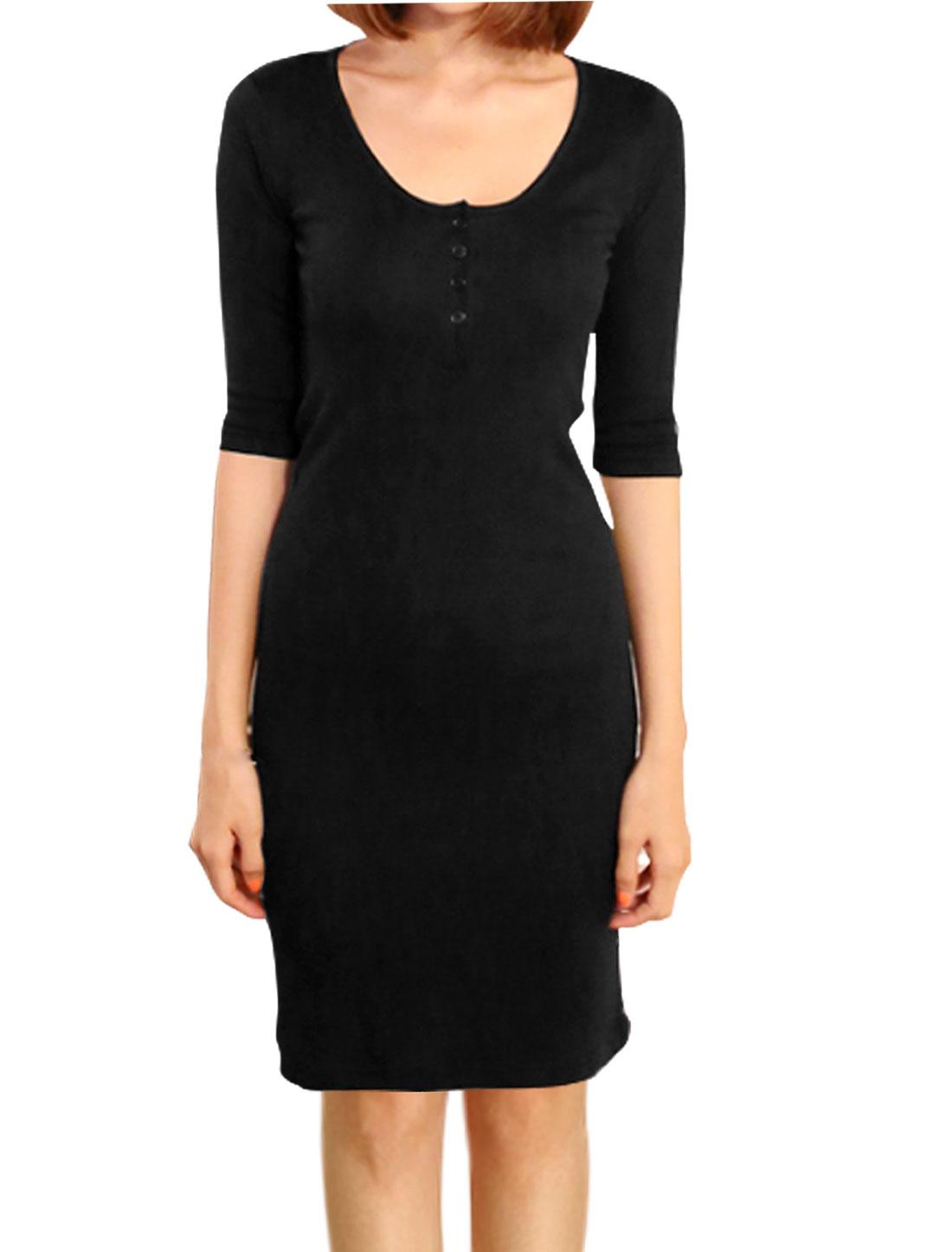 Women Half Button Closure 1/2 Sleeves Sheath Dress Black S