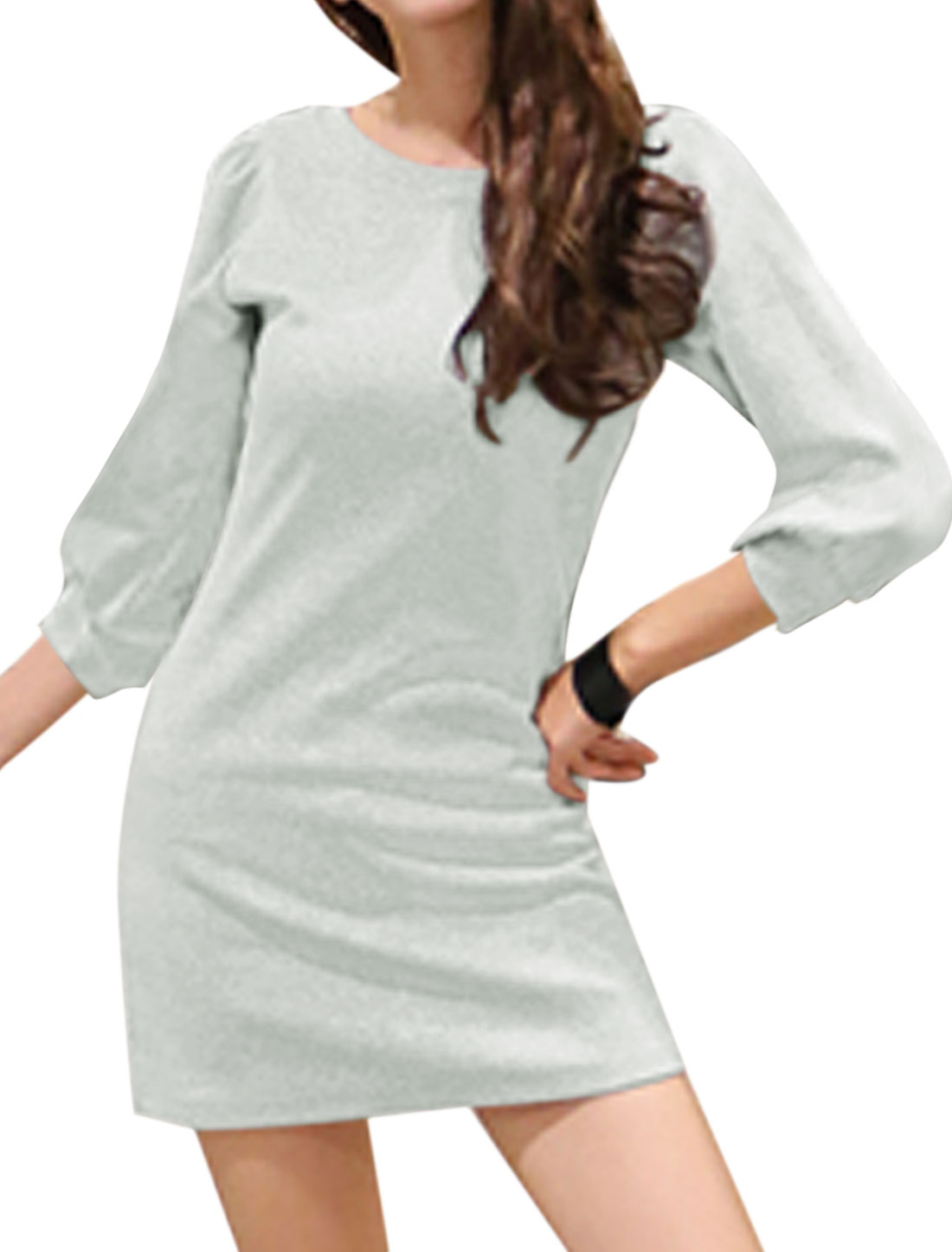 Woman Round Neck 3/4 Sleeves Slim Fit Tunic Dress Gray XS