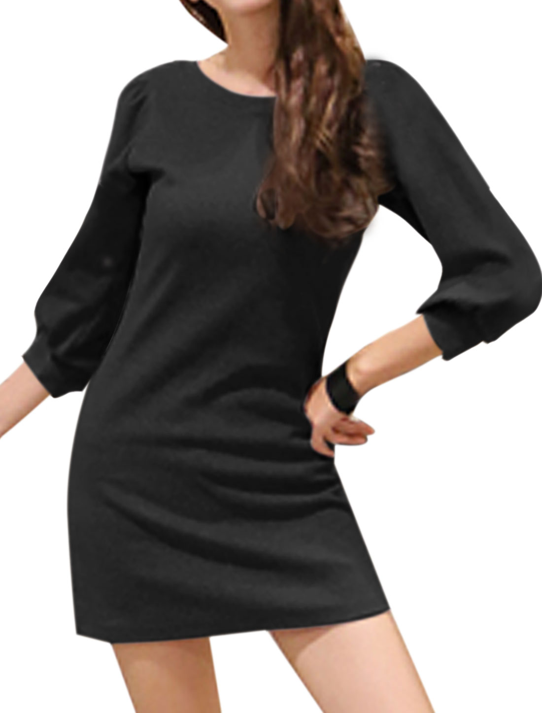 Woman Round Neck 3/4 Sleeves Slim Fit Tunic Dress Black XS