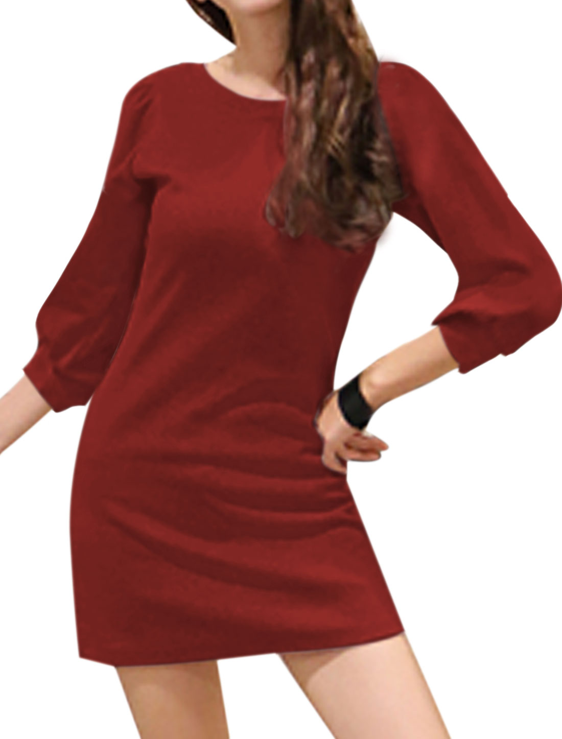 Woman Round Neck 3/4 Sleeves Slim Fit Tunic Dress Red XS