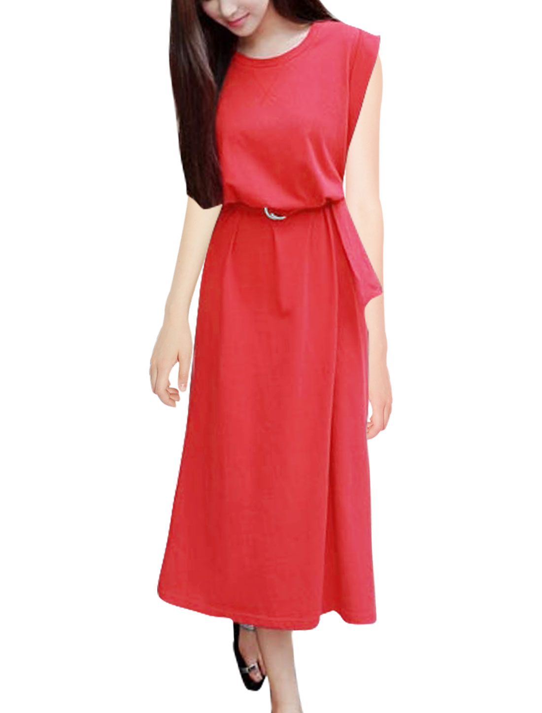 Woman Cuffed Sleeves Split Sides Midi Dress w Belt Red XS