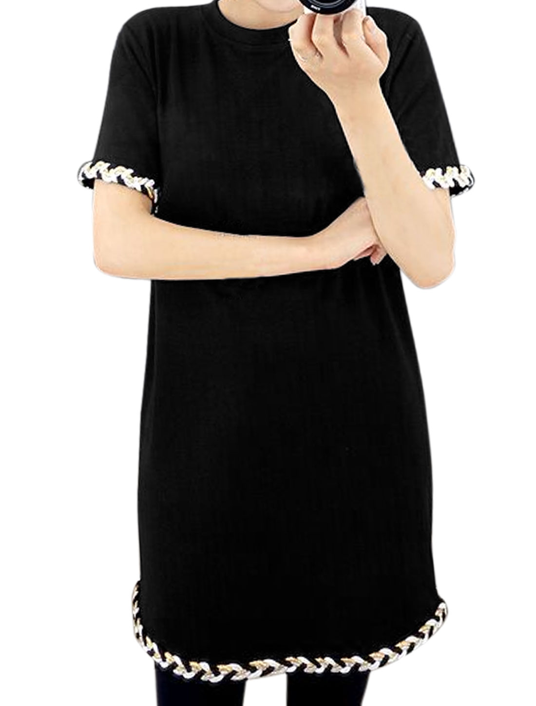 Women Crew Neck Short Sleeves Braids Decor Tunic Dress Black S
