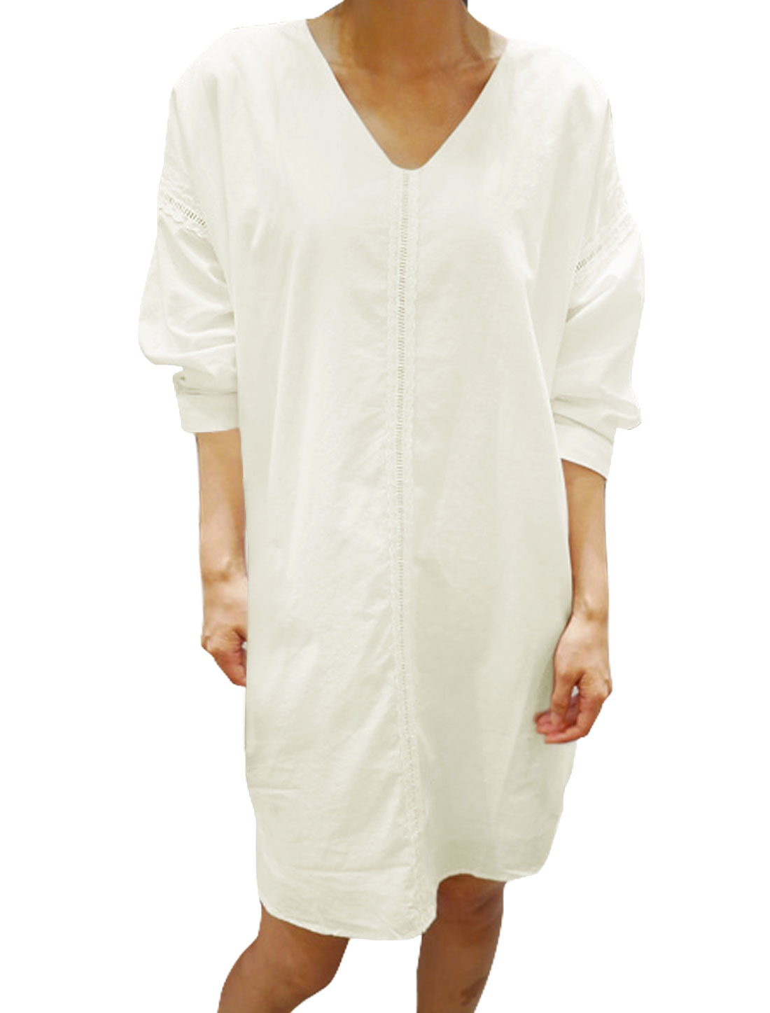 Ladies 3/4 Sleeves V Neck Stitched Loose Tunic Dress White XS