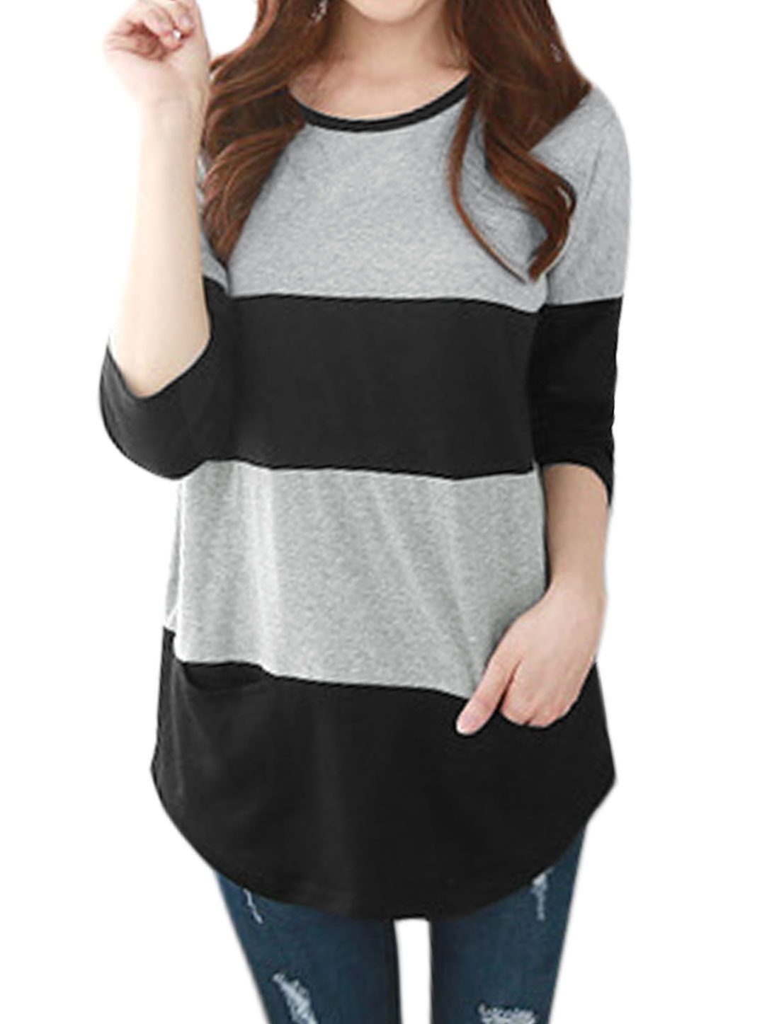Women Two Pockets Stripes Color Block Tunic T-Shirt Gray XS
