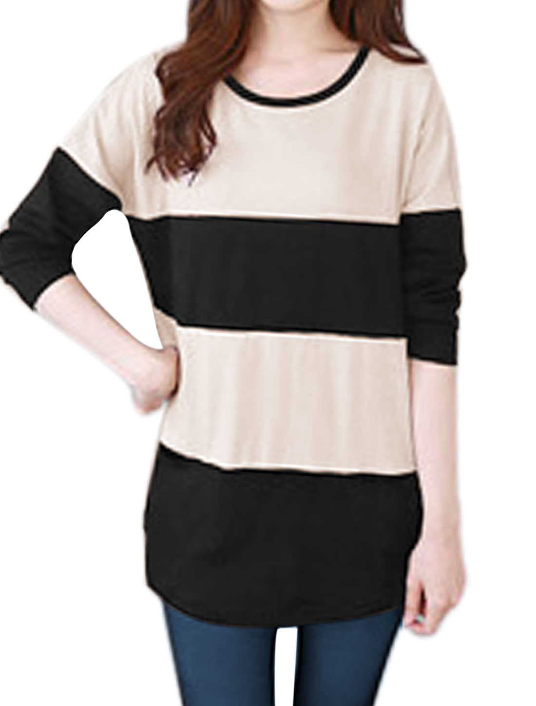 Women Two Pockets Stripes Color Block Tunic T-Shirt Beige XS