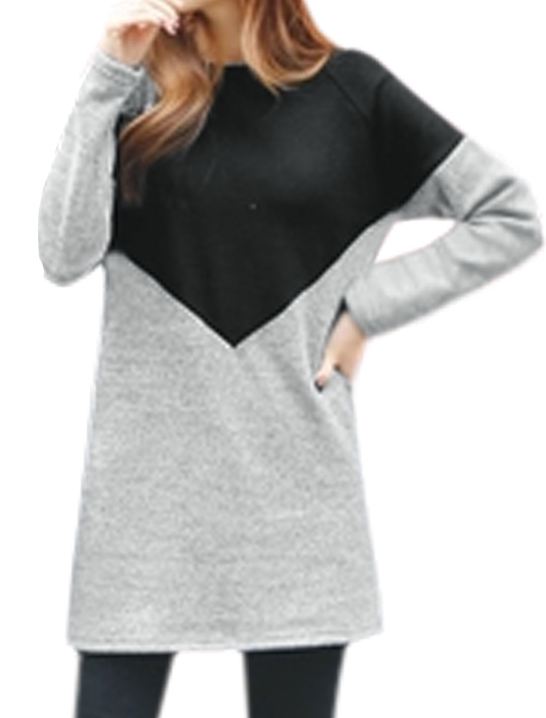 Lady Contrast Color Long Raglan Sleeves Loose Tunic Blouse Black S