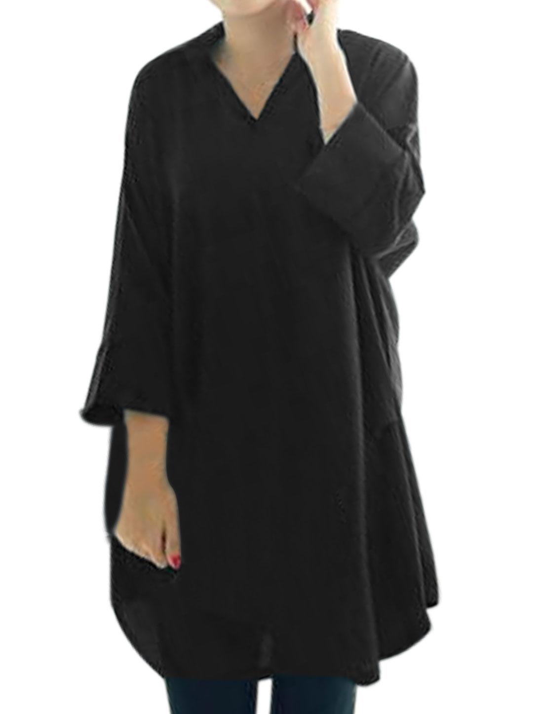 Women Turn Down Collar 3/4 Sleeves Loose Tunic Top Black S