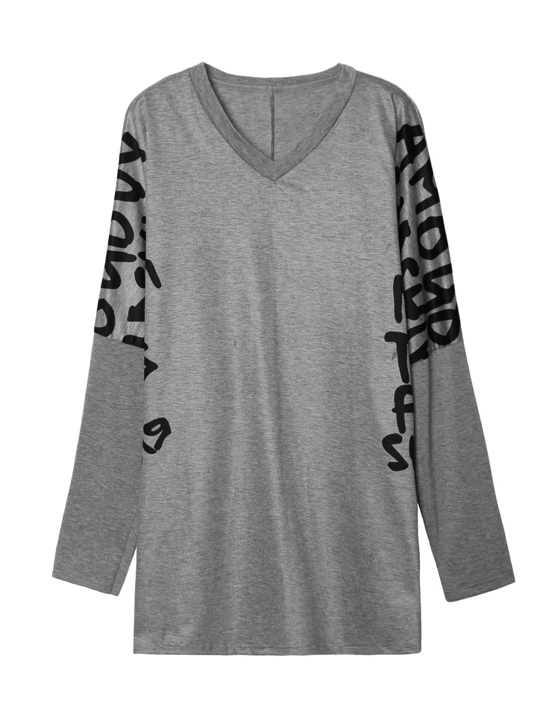 Women Long Dolman Sleeves Letters Print Tunic Loose Blouse Gray XS