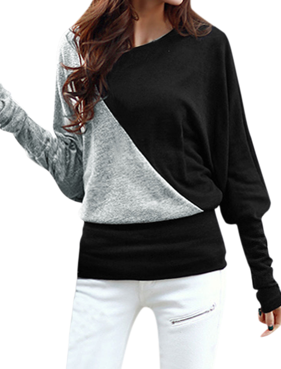 Women Long Dolman Sleeves Color Block Loose Blouse Black S