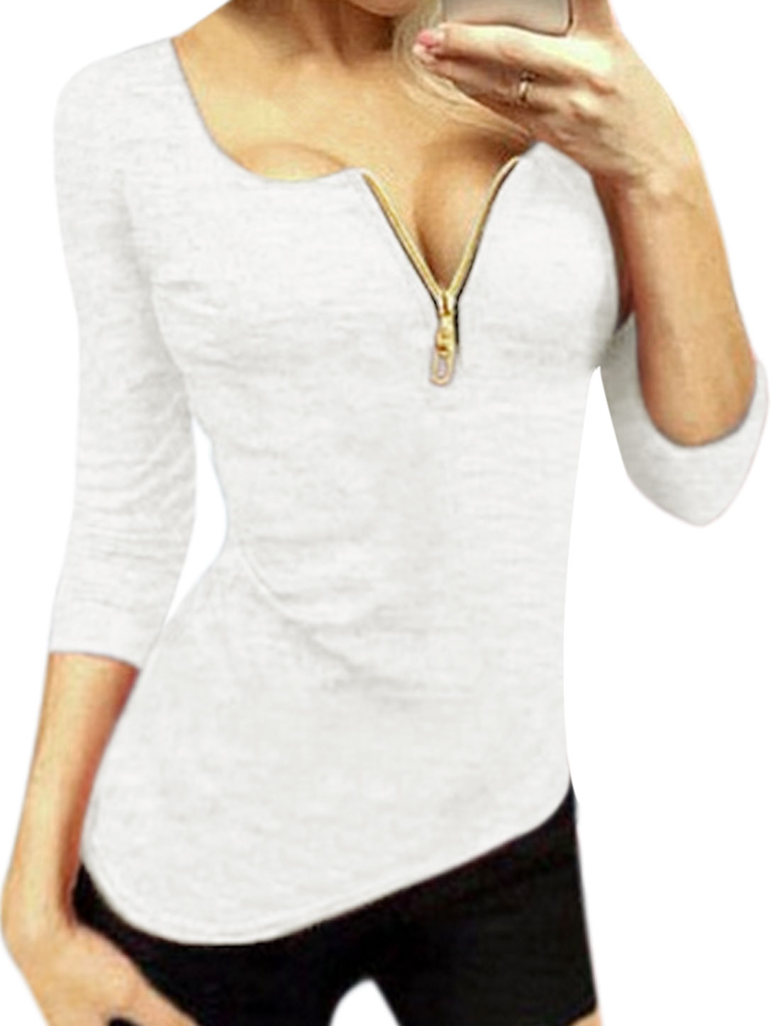 Women 3/4 Sleeves Zip Placket Slim Fit Tee Shirt White L