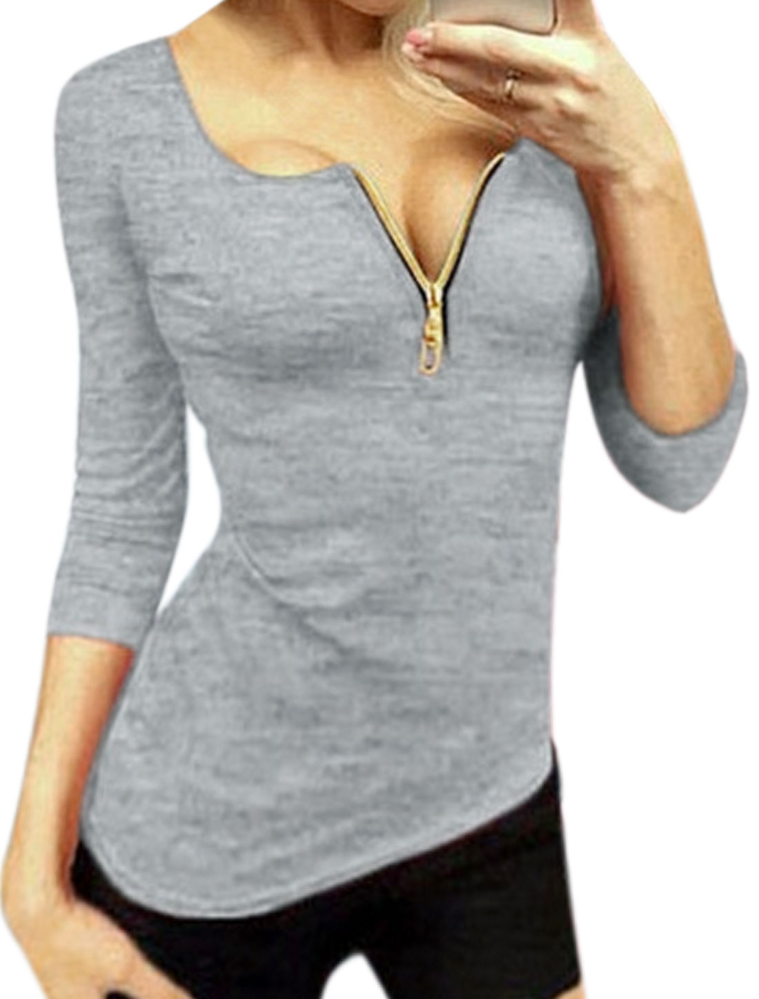 Lady Round Neck Zippper Upper Slim Fit Tee Shirt Gray L