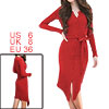 Women Belted Ribbed High Low Hem Split Sheath Dress Red S