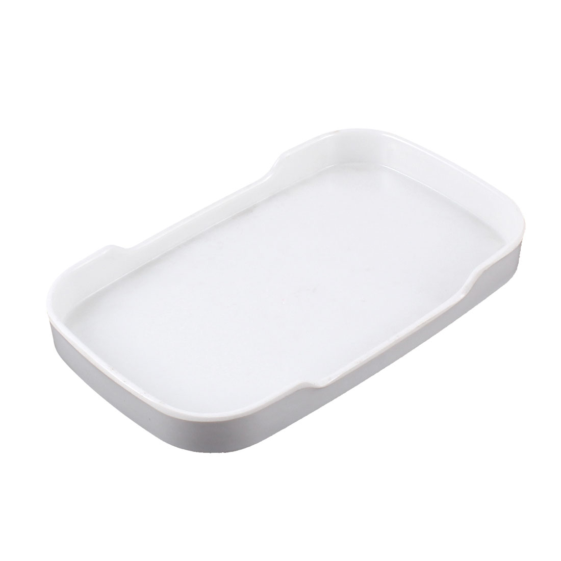 Plastic Rectangle Shaped Smooth Surface Dinner Dessert Snack Plate White