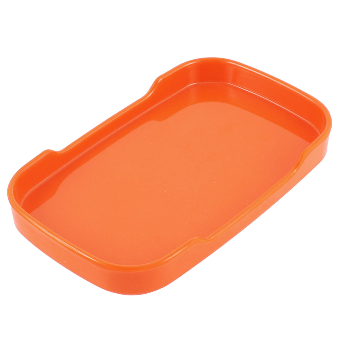 Plastic Rectangle Shaped Dinner Dessert Snack Plate Orange 19cm Long