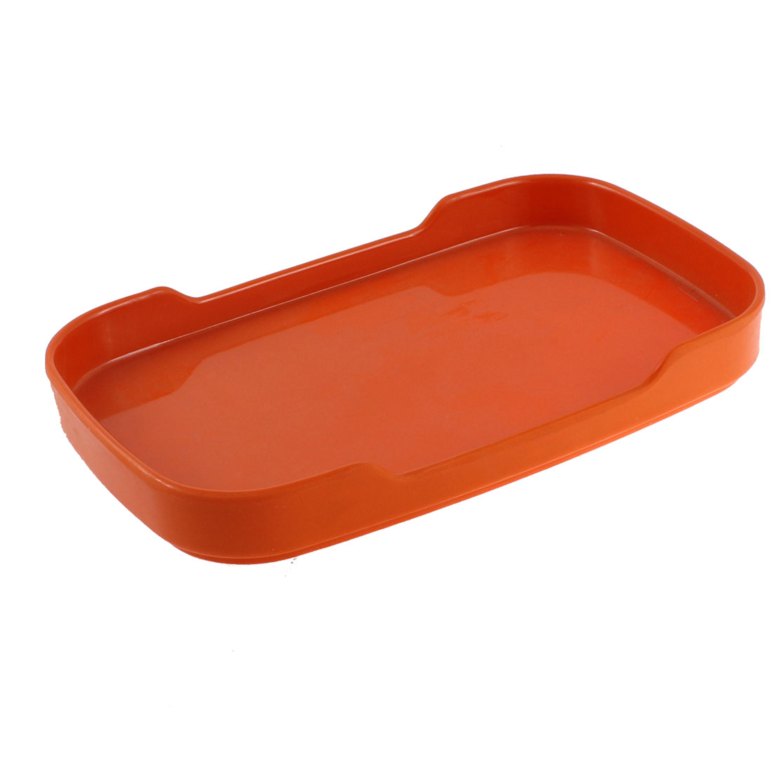 Dinner Lunch Plastic Rectangle Shaped Holder Plate Dish Orange 8.5''