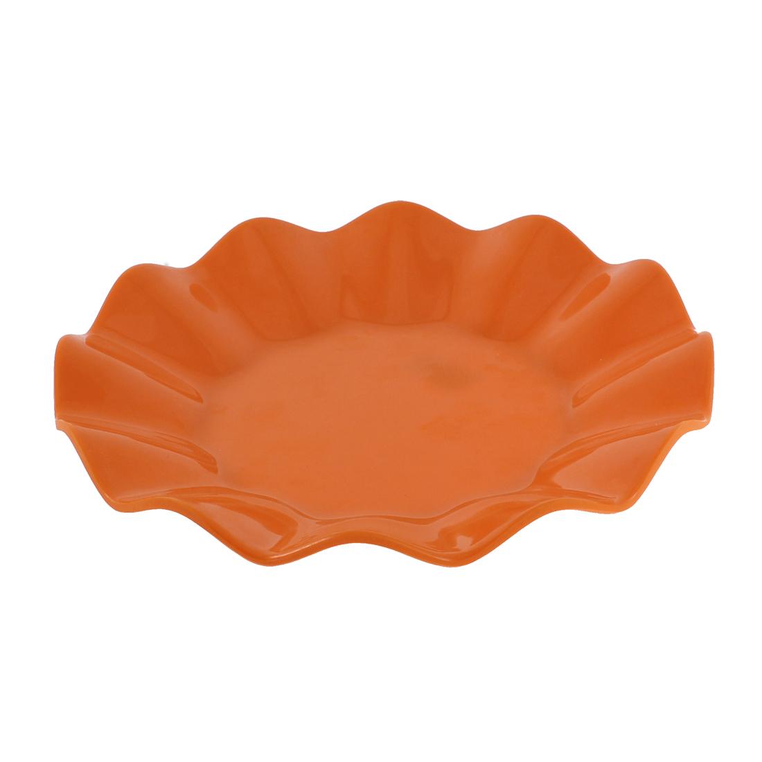 Outdoor Dining Plastic Lotus Leaf Shaped Wave Edge Dish Plate Saucer Orange