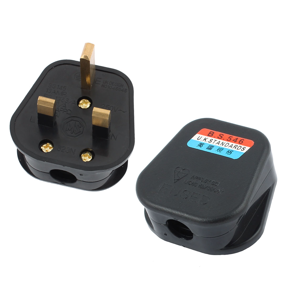 AC 250V UK Plug Fused Power Outlet Rewiring Cord Adapter Connector Black