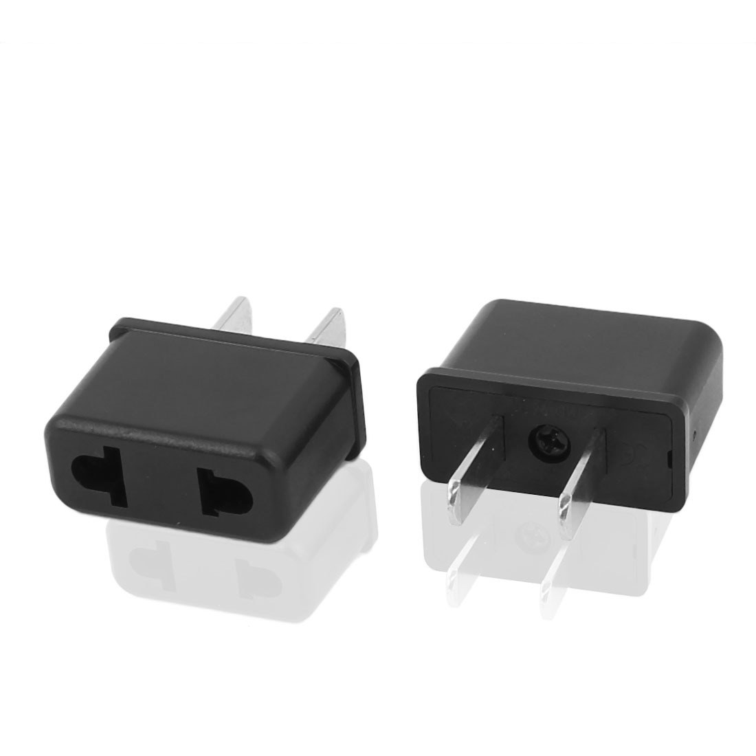 2 Pcs AC 125V 250V US Plug to US EU Socket Converter Power Adapter for RC Quadcopter Black