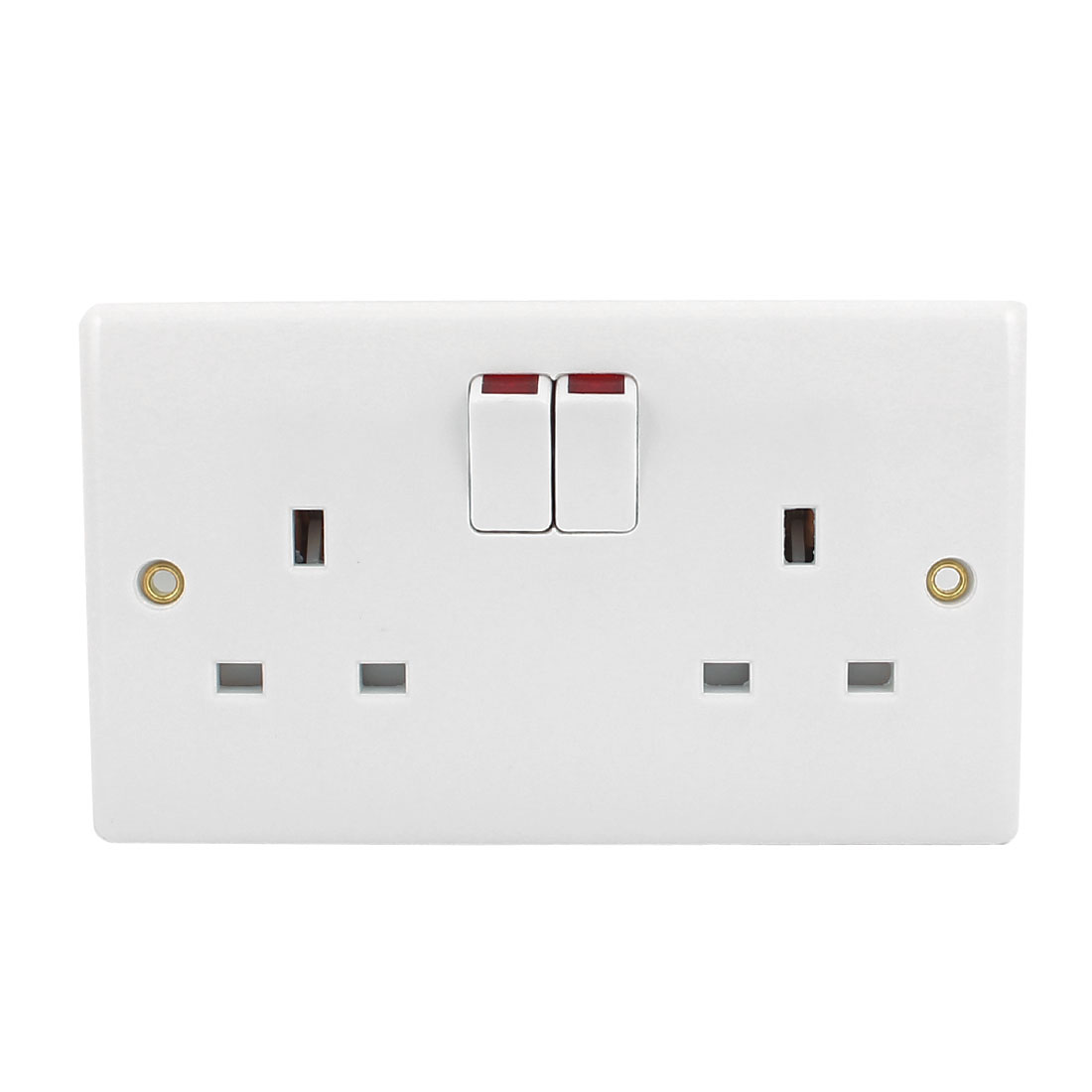 AC 250V UK Socket Dual Mains Power 2 Gang Wall Panel Switches Outlet