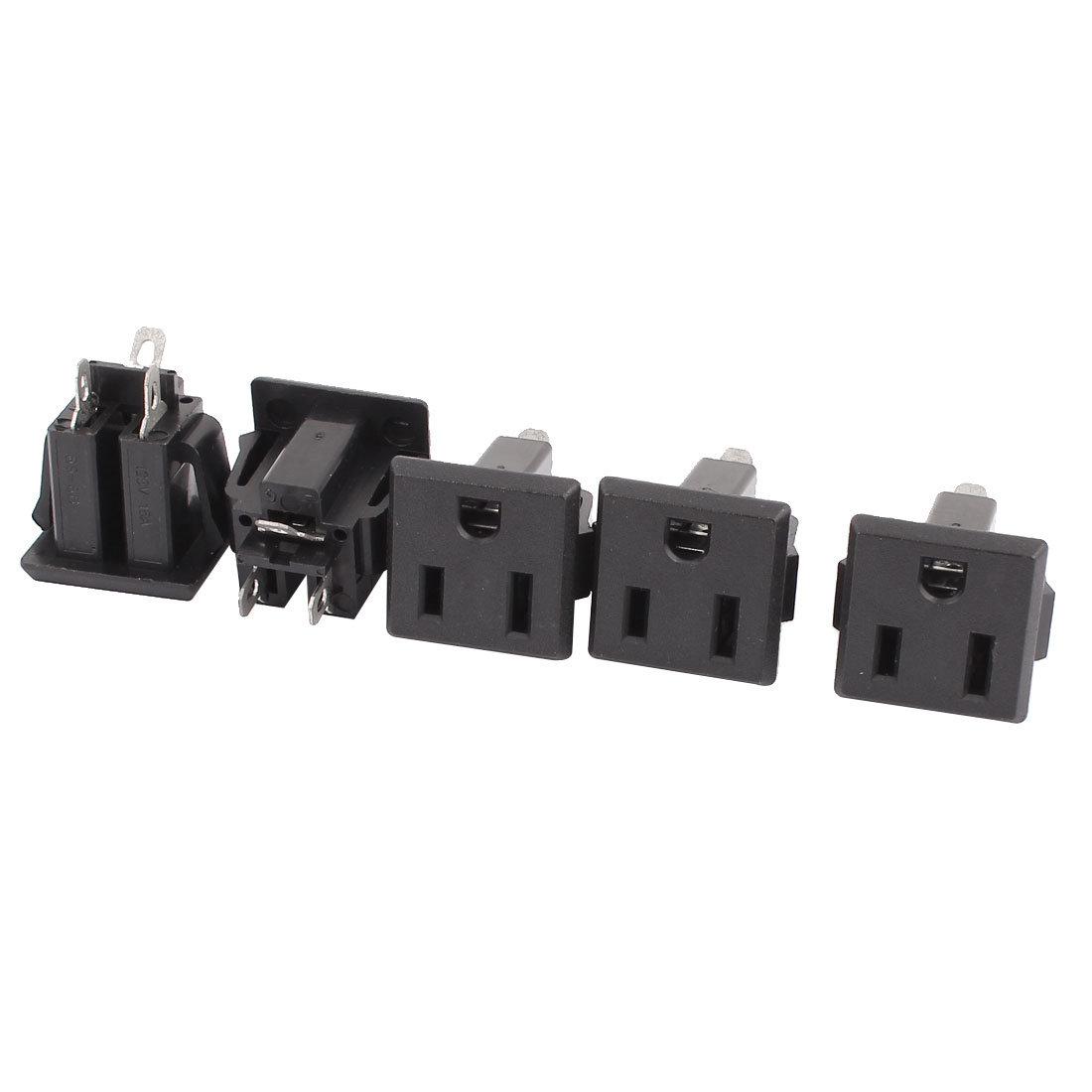 5 Pcs AC 125V US Outlet Panel Mount Power Rewiring Socket Black