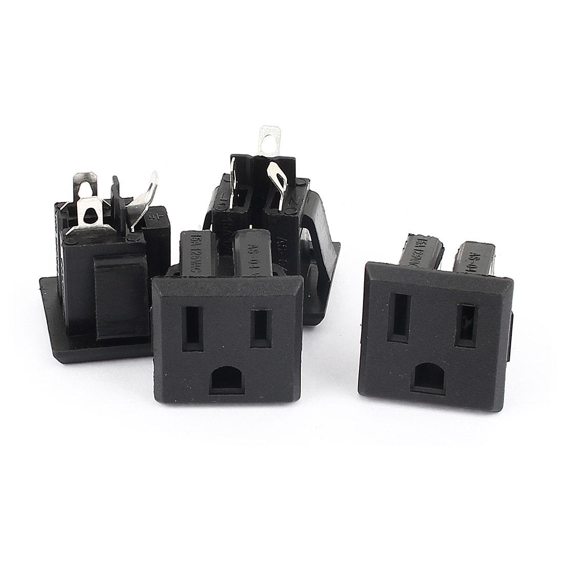 4Pcs AC 125V 15A US Plug 3 Terminals Socket Power Female Outlet Connector Black