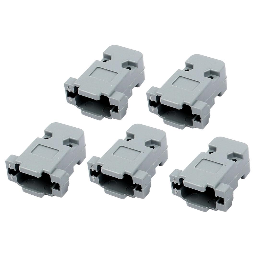 5 Pcs Serial Port D-Sub DB9 Connector Kit Gray Plastic Hoods Shell w Screws