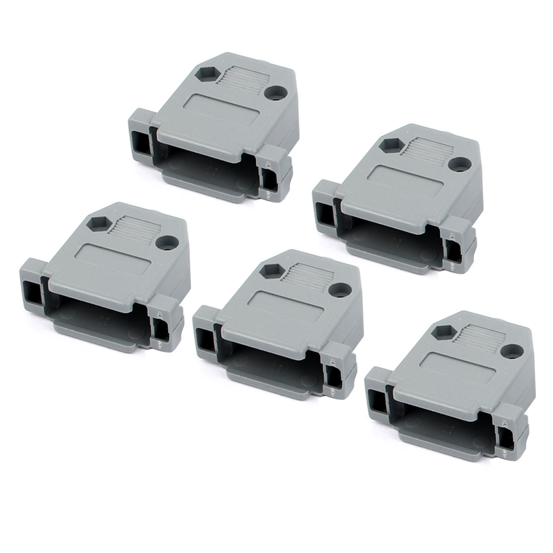 5 Pcs Serial Port D-Sub DB15 Connector Kit Gray Plastic Hoods Shell w Screws