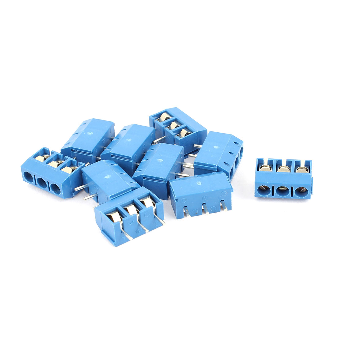 10 Pcs 5mm Pitch 3 Terminals Plug-in Screw Teminal Barrier Blocks Connectors Blue