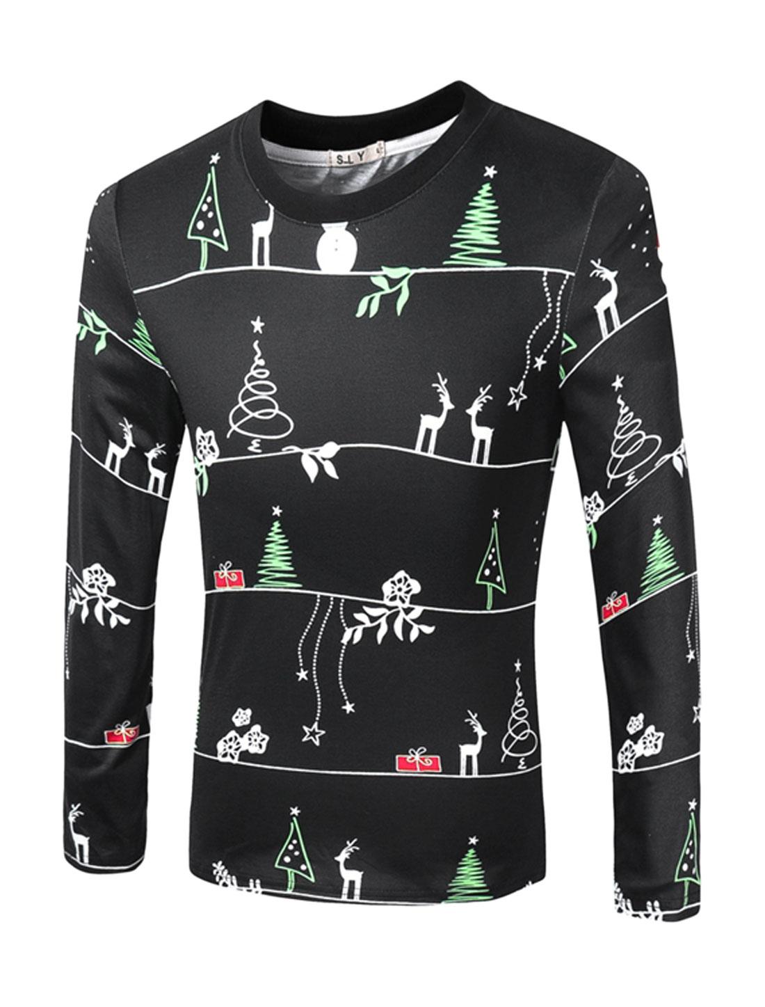 Man Crew Neck Moose Floral Stars Snowman Tee Shirt Black M