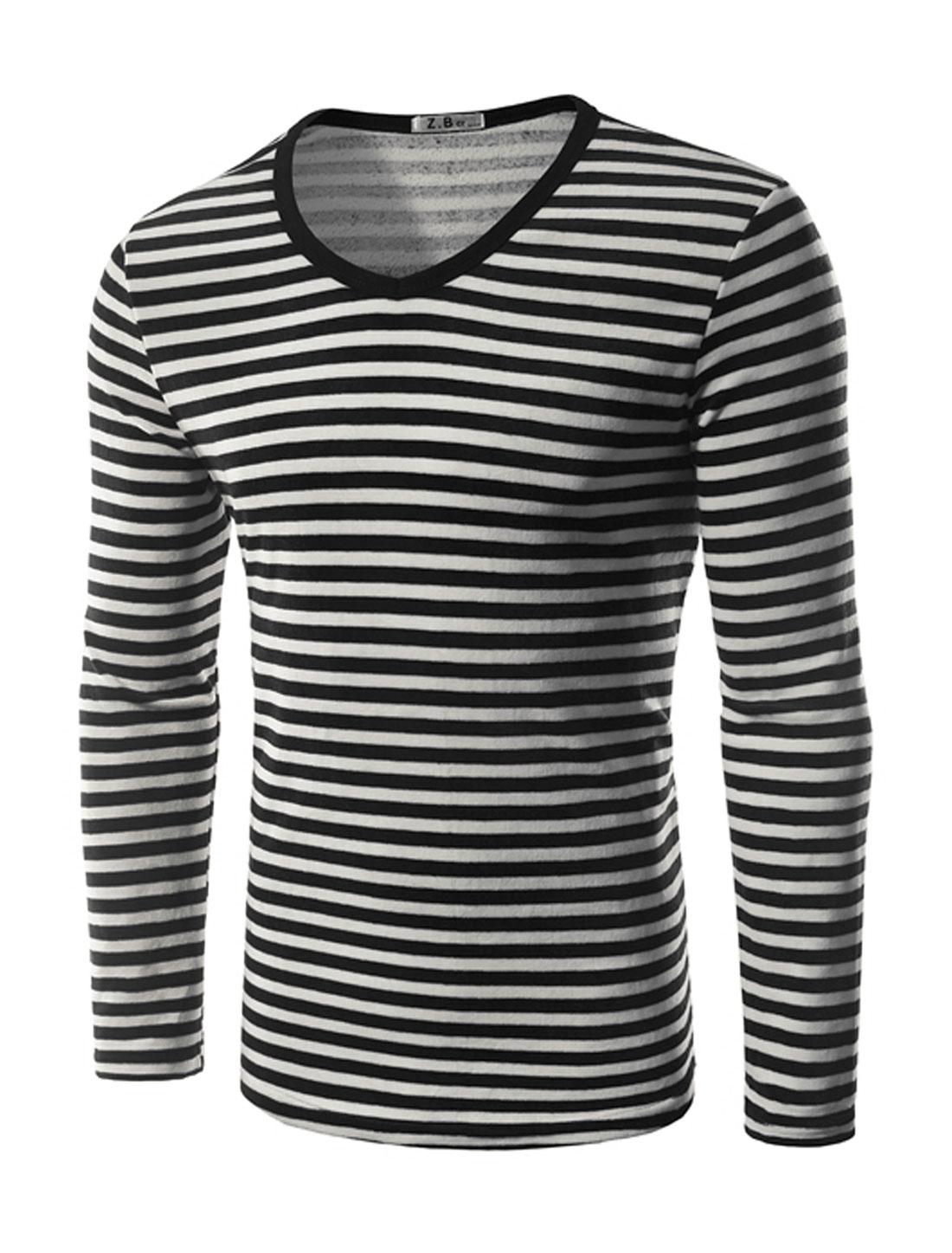 Man V Neck Stripes Slim Fit Plush T-Shirt Black M