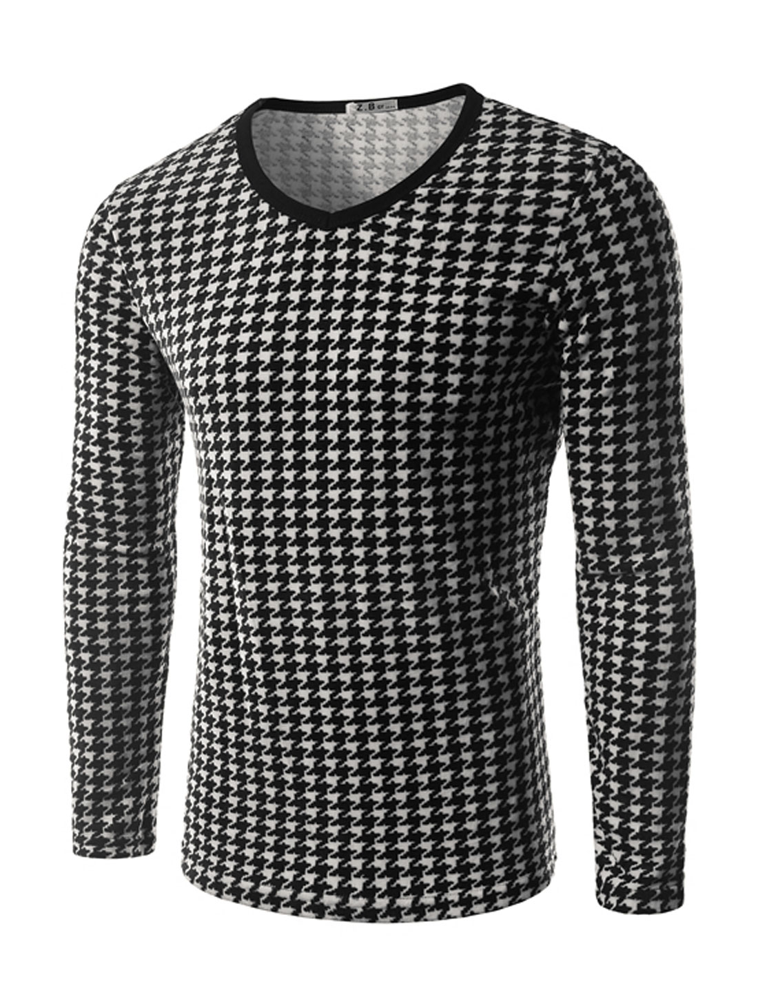 Man V Neck Houndstooth Slim Fit Plush T-Shirt Black M