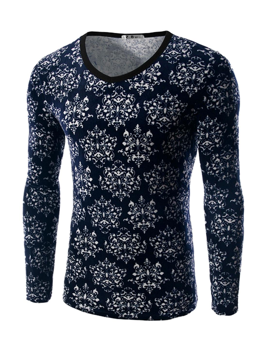 Man V Neck Long Sleeves Jacquard Plush Slim Fit T-Shirt Blue M