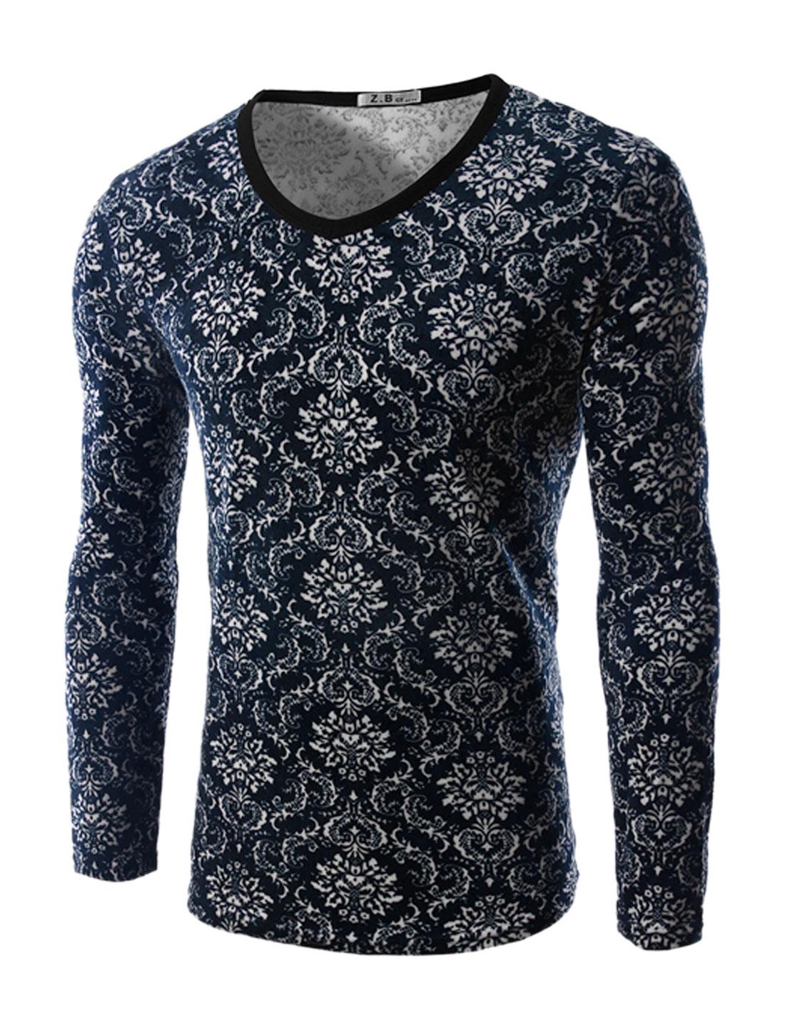 Man Long Sleeves Jacquard Slim Fit Plush T-Shirt Blue M