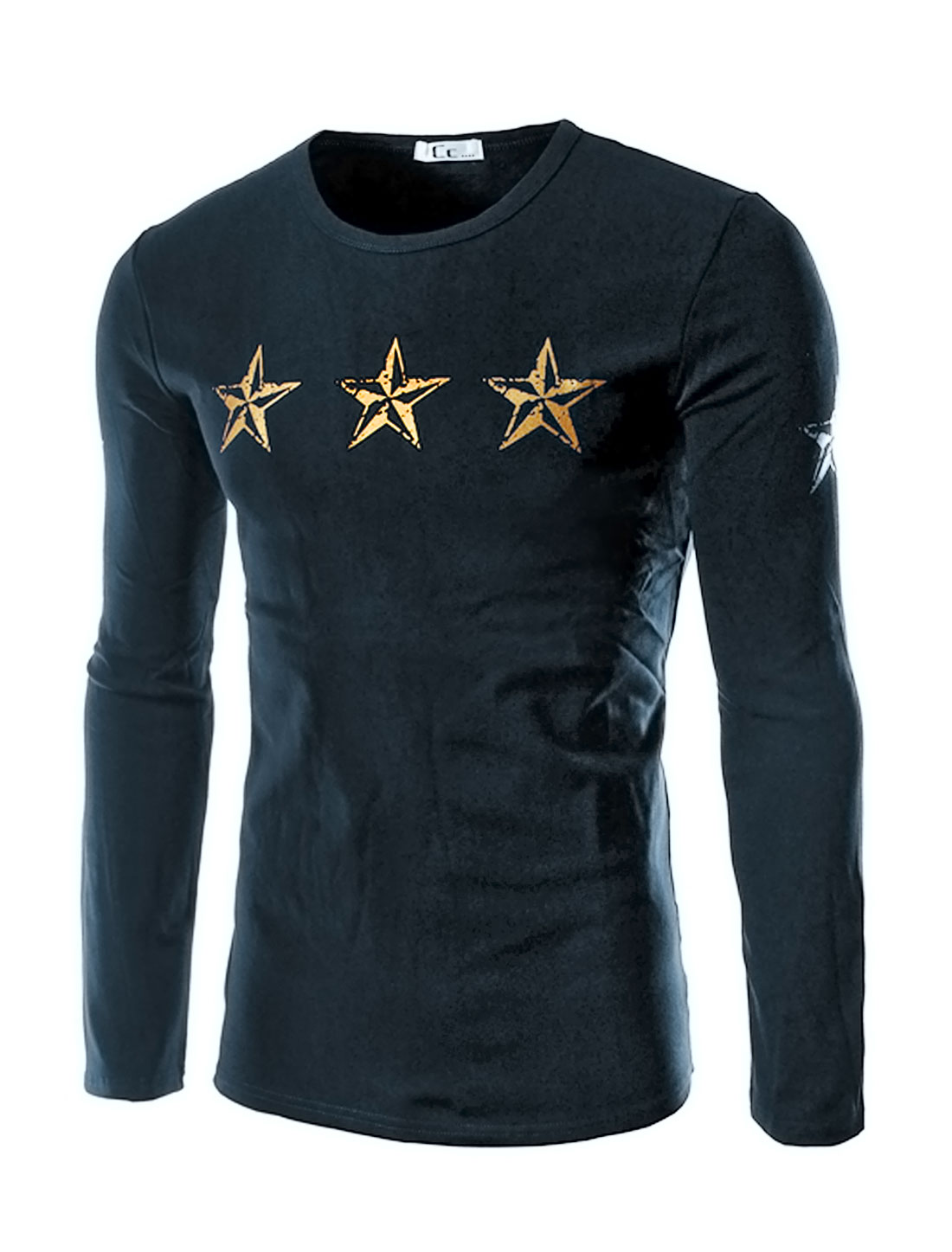 Men Crew Neck Stars Letters Slim Fit Tee Shirt Blue M