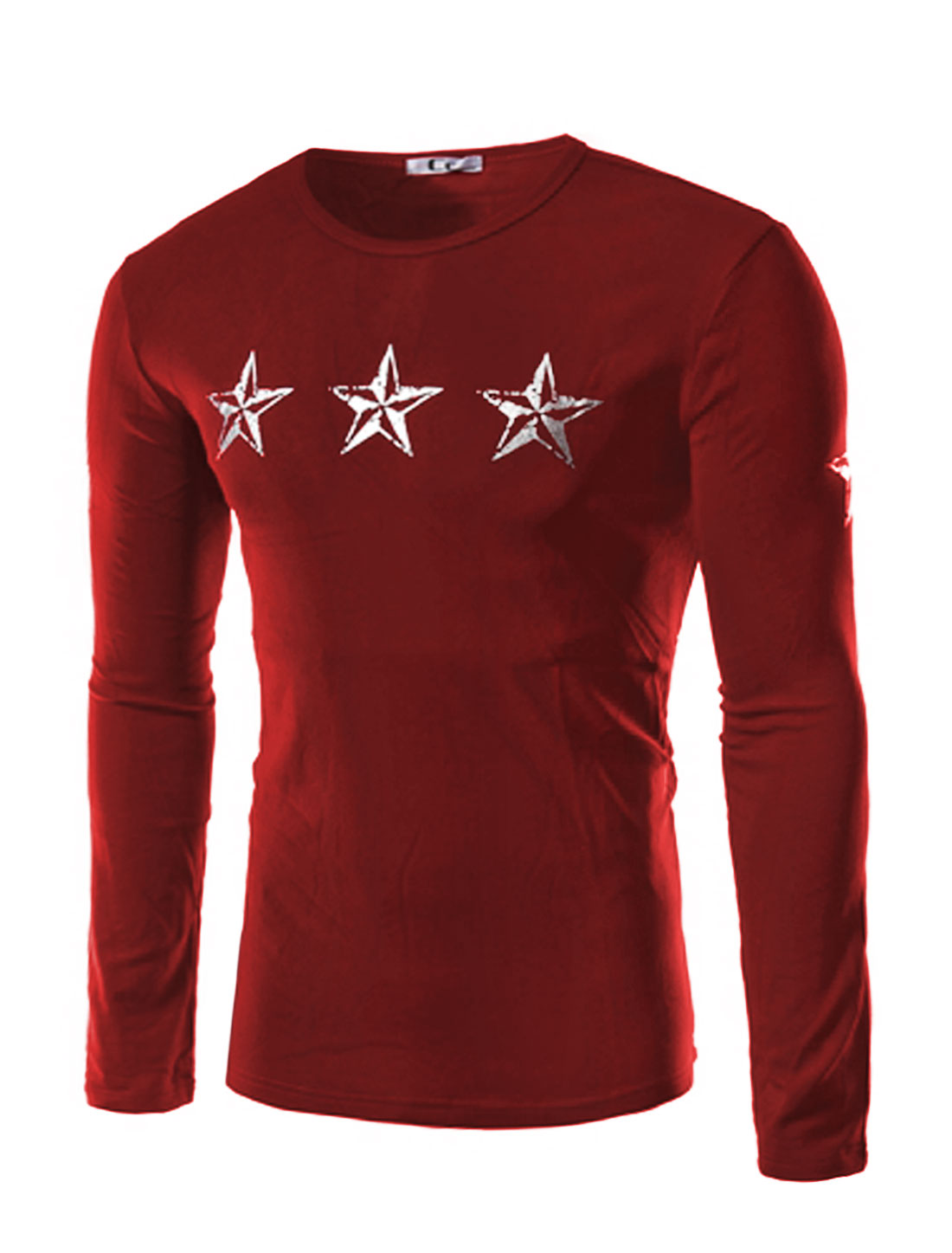 Men Crew Neck Stars Letters Slim Fit Tee Shirt Red M