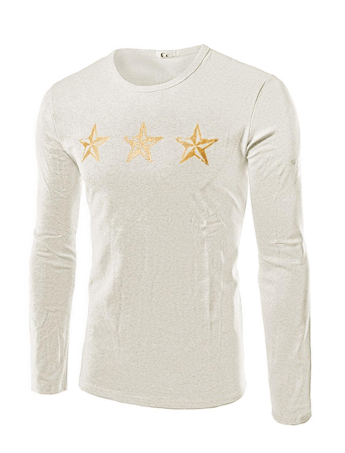 Men Crew Neck Stars Letters Slim Fit Tee Shirt Gray M