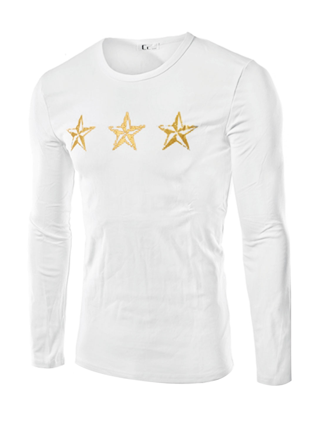 Men Crew Neck Stars Letters Slim Fit Tee Shirt White M