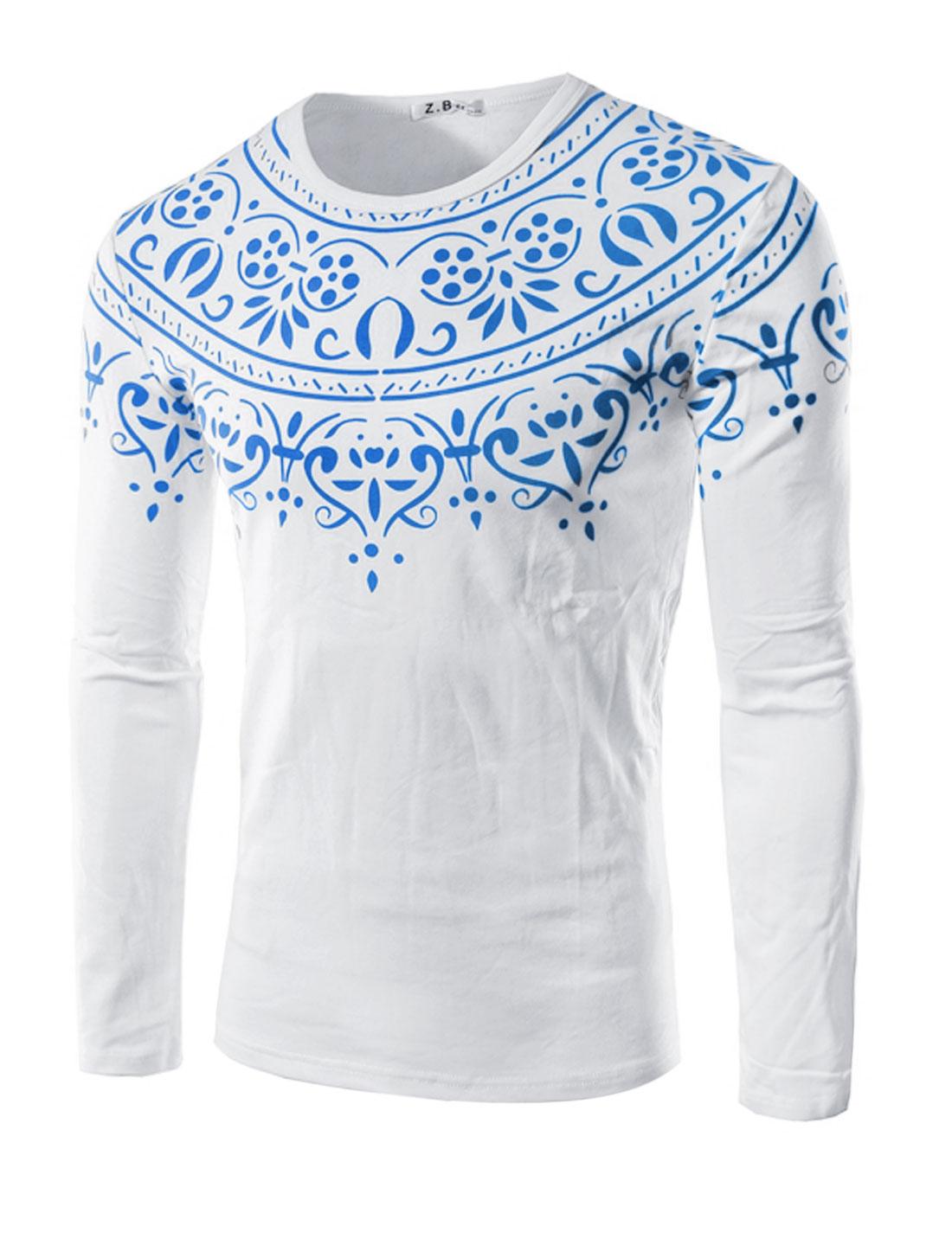 Men Long Sleeves Slim Fit Novelty Tee Shirt White M
