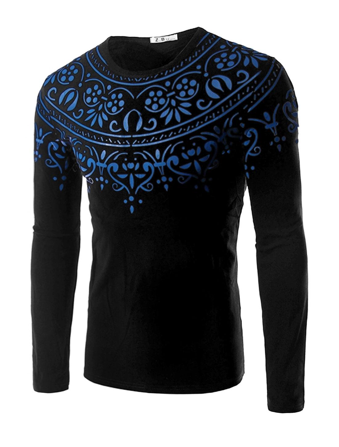 Men Long Sleeves Slim Fit Novelty Tee Shirt Black M