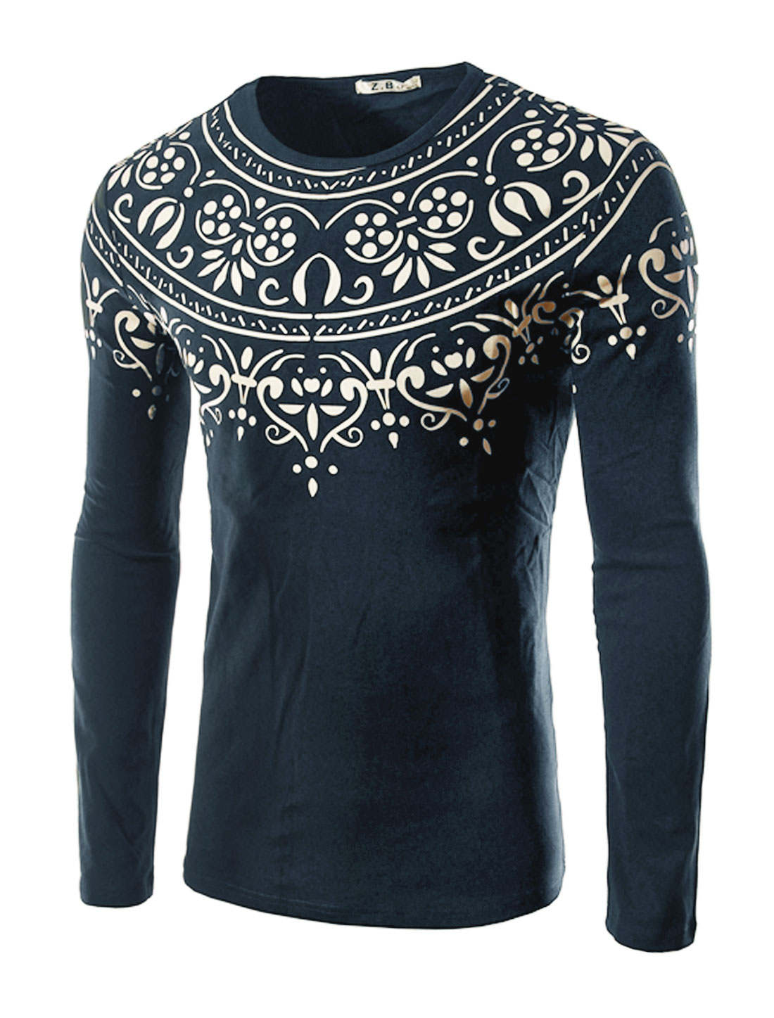 Men Long Sleeves Slim Fit Novelty Tee Shirt Blue M