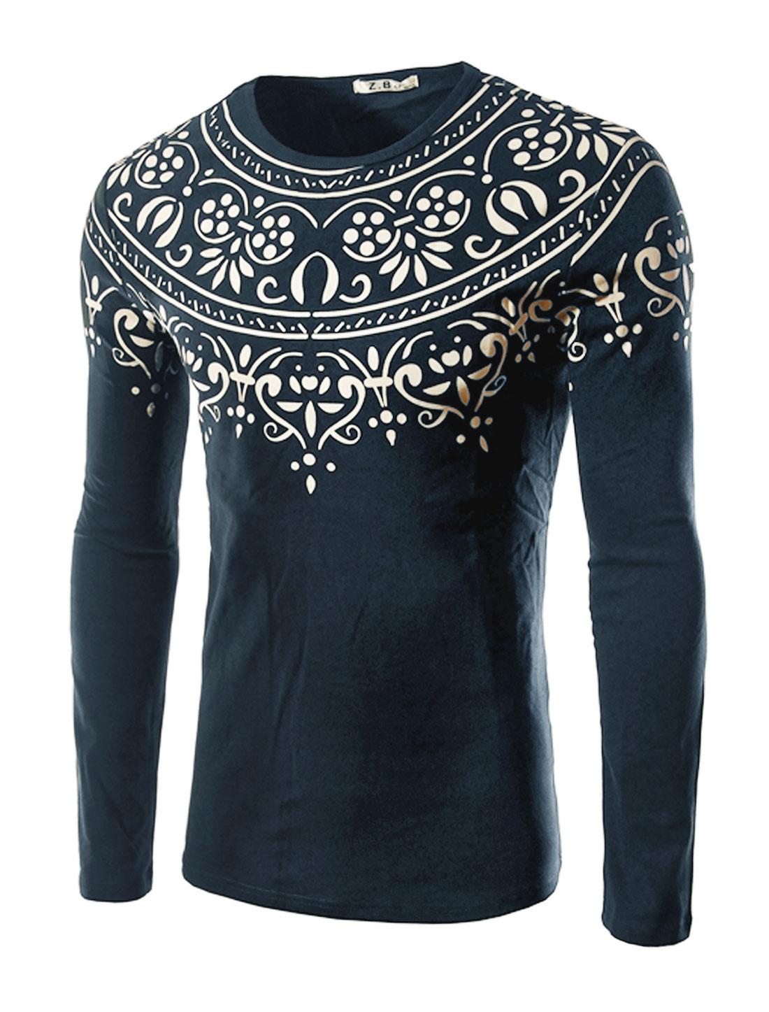 Men Long Sleeves Slim Fit Novelty Tee Shirt Blue M