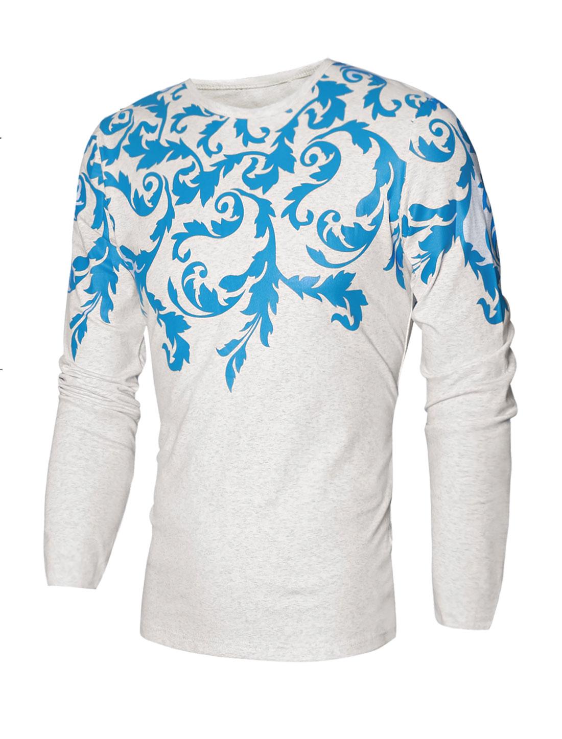 Men Crew Neck Slim Fit Plants Print Tee Shirt Gray M