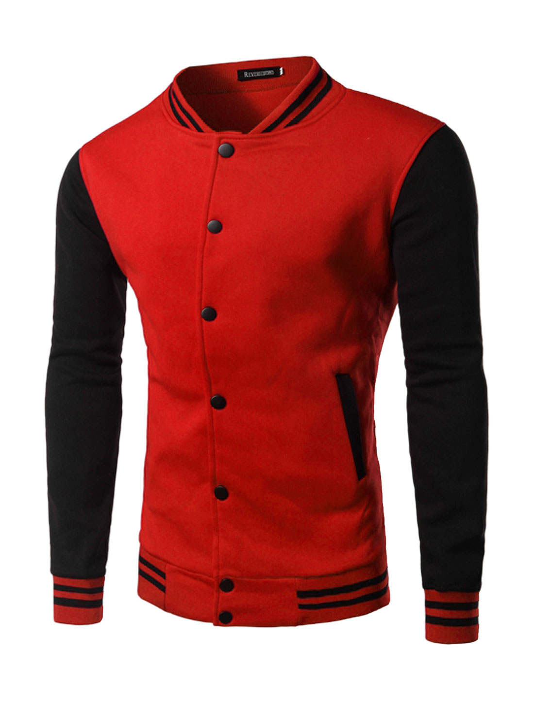 Man Long Sleeves Stripes Detail Color Block Baseball Jacket Red M