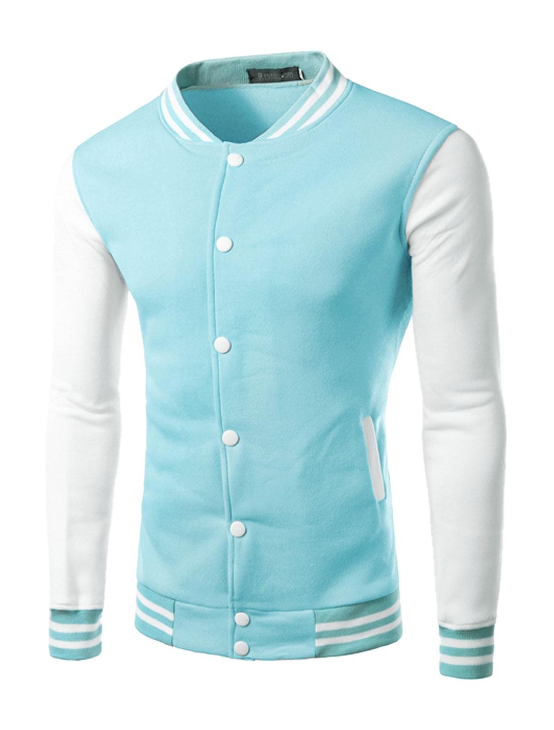 Men Snap Buttons Fastener Contrast Color Slim Fit Baseball Jacket Light Blue M