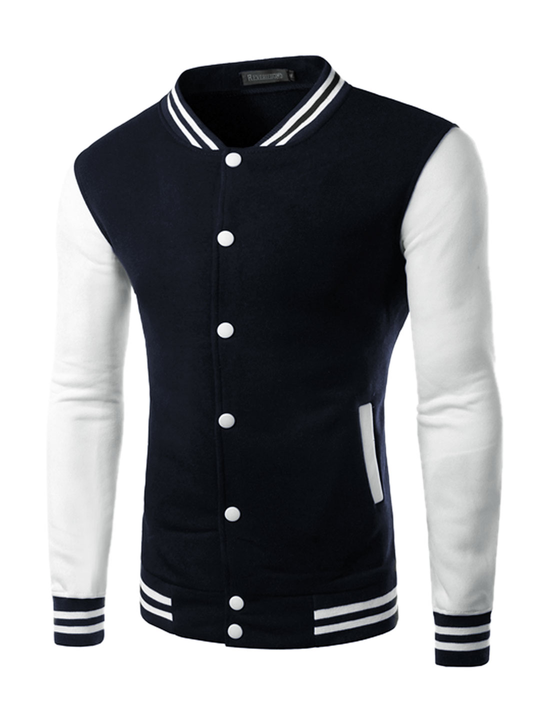 Men Stripes Detail Contrast Color Slim Fit Baseball Jacket Navy Blue M