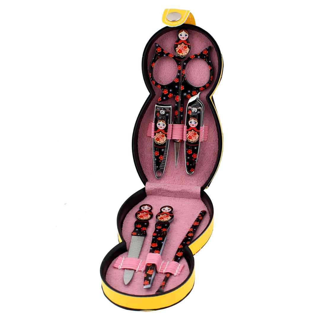 Black Russian Doll Pattern Manicure Beauty Tool Scissor Nail Clipper File Set 6 in 1