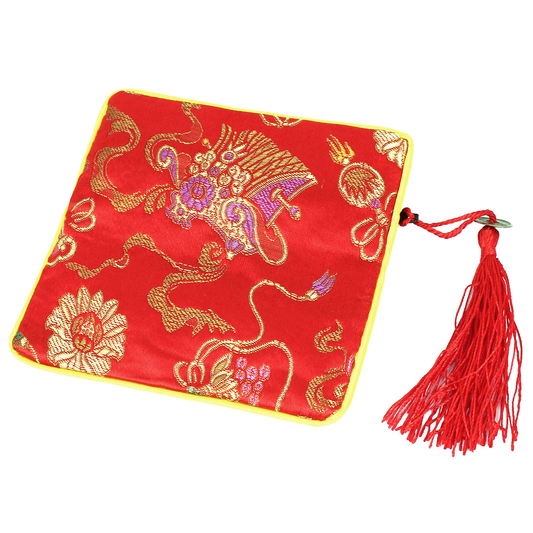 Tassel Pendant Zipper Closure Cosmetic Jewelry Gift Coin Bag Purse Pouch Red