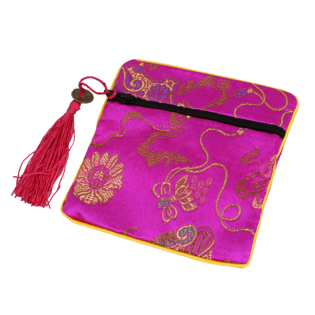 Tassel Pendant Zipper Closure Cosmetic Jewelry Gift Coin Bag Purse Pouch Fuchsia