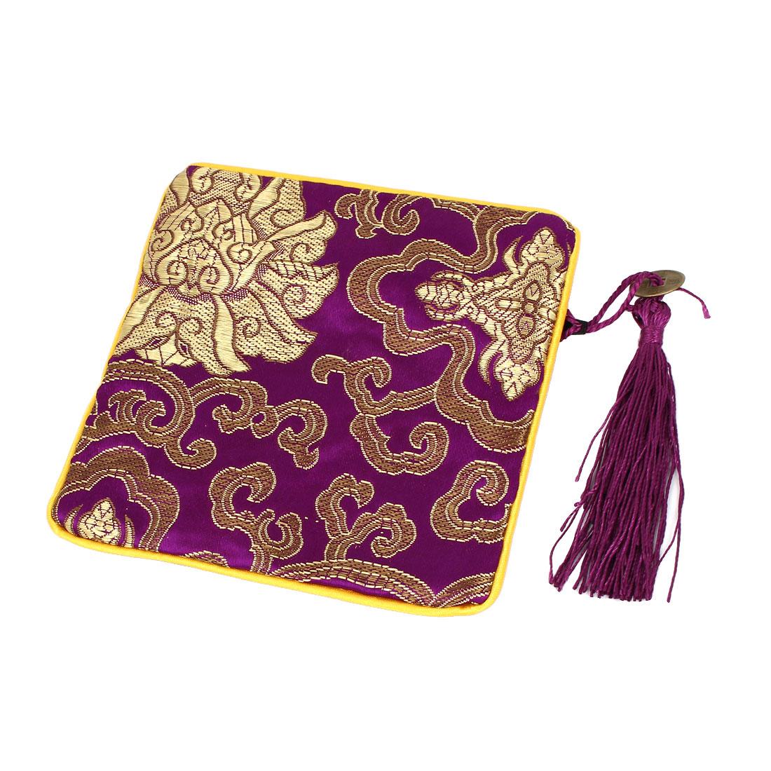 Tassel Pendant Zipper Closure Cosmetic Jewelry Gift Coin Bag Purse Pouch Purple