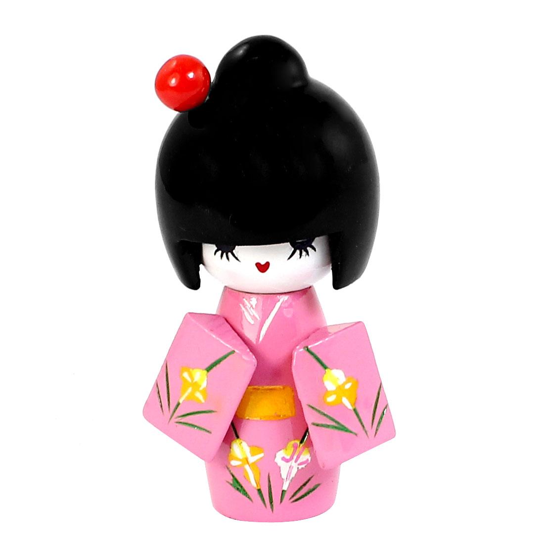 8cm Length Craft Flower Pattern Kimono Japanese Wooden Kokeshi Girl Doll Pink